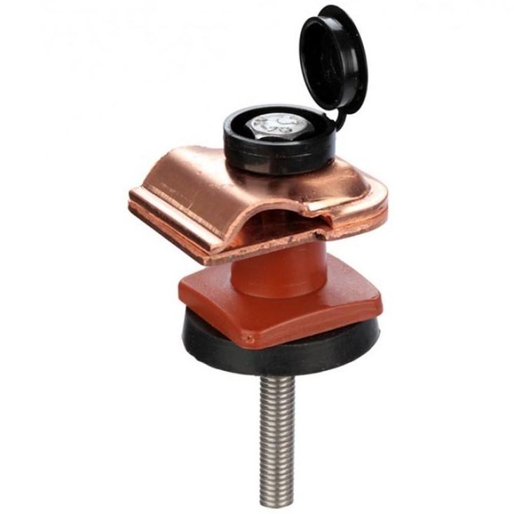 Зажим на крышу покрытую металлическим профилем / профнастилом для токоотвода, медь