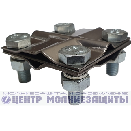 Зажим заземления полоса/пруток — полоса/пруток крестообразный, нержавеющая сталь