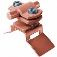 Держатель проводника 6-11 мм по водосточной трубе винтовой с использованием ленты, VA-PA, коричневый
